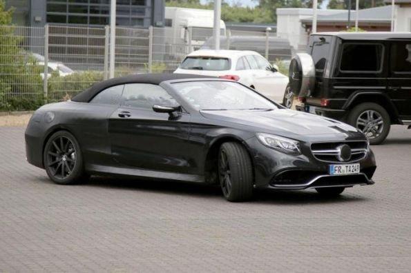 Чёрный Mercedes S63 AMG Cabrio на тестах в Германии
