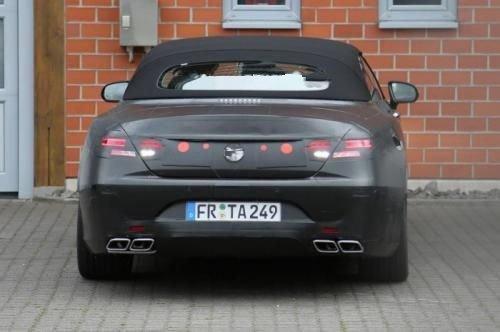 Прототип Mercedes S63 AMG Cabrio чёрного цвета на тестах, вид сзади