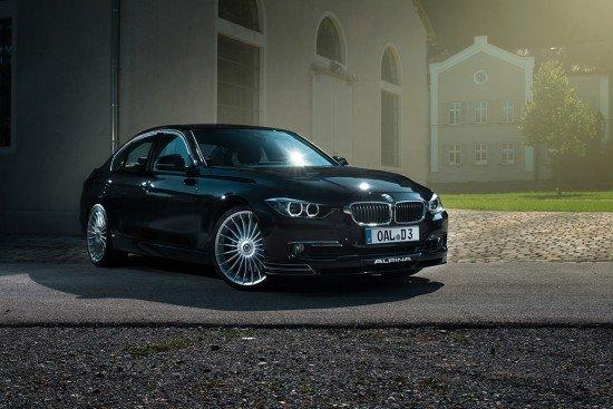 Седан BMW Alpina D3 Bi-Turbo чёрного цвета, вид спереди