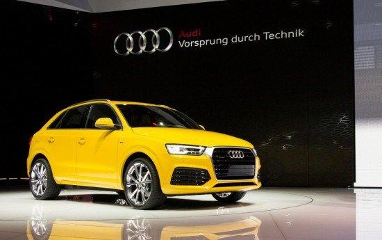 Audi Q3 жёлтого цвета, вид спереди