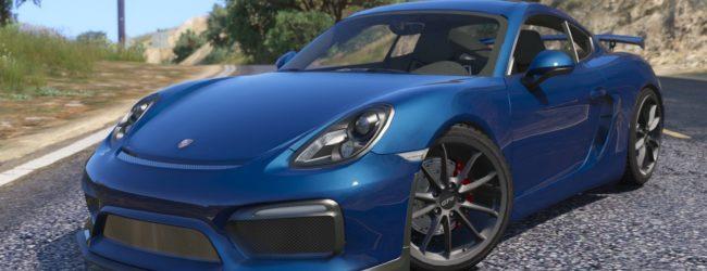 Porsche Cayman синего цвета, вид спереди