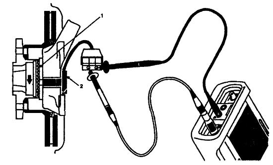 Схема подключения осциллографа для проверки датчика АБС