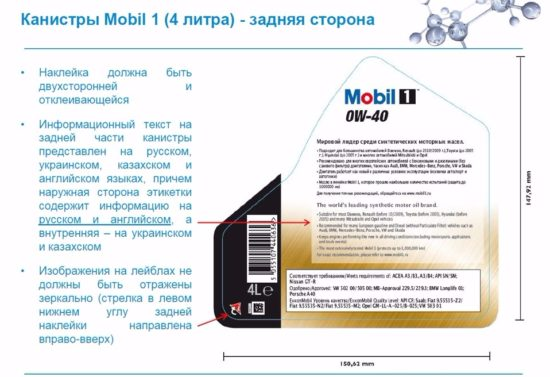 Задняя сторона упаковки Mobil