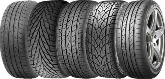 Различные типы шин для автомобиля