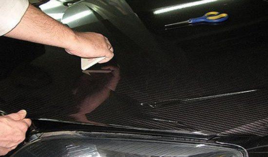 Начальная фиксация карбоновой плёнки