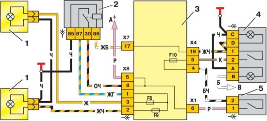 shema podklyuchenie ptf na 550x250 - Схема подключения птф ваз 2114 через реле