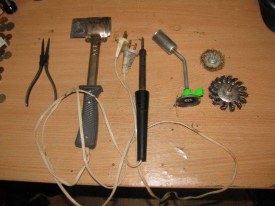Инструменты для пайки радиатора